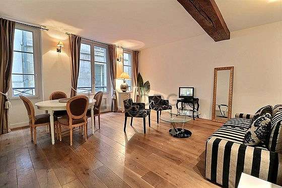 Very quiet living room furnished with 1 sofabed(s) of 160cm, tv, fan, 1 armchair(s)
