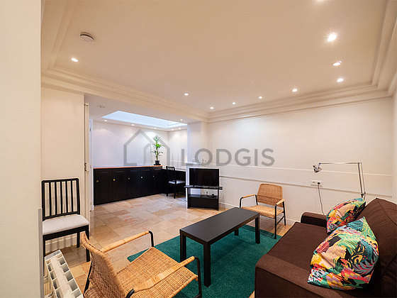 Very quiet living room furnished with 1 sofabed(s) of 120cm, tv, 1 armchair(s), 1 chair(s)