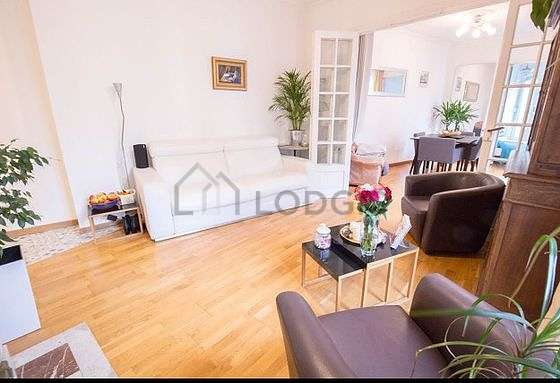 Very bright living room furnished with fan, 1 armchair(s), 4 chair(s)