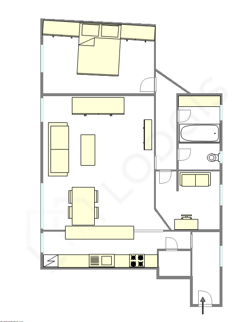 Apartment Paris 13° - Interactive plan