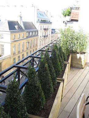 Very quiet and very bright balcony with woodenfloor