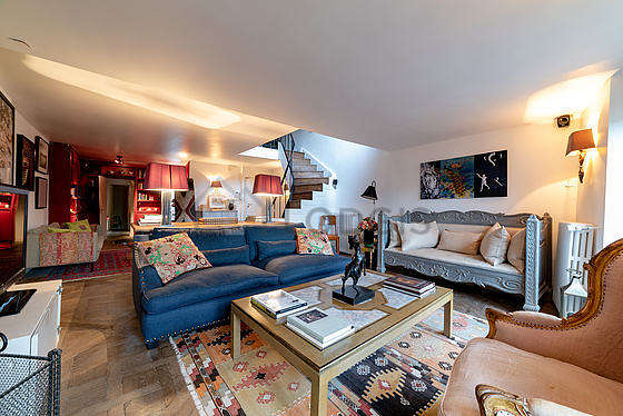 Very bright living room furnished with 1 armchair(s)
