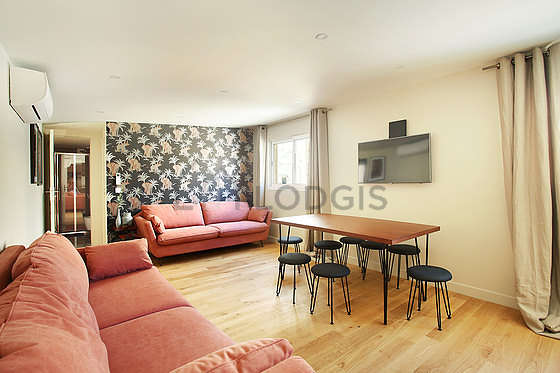 Very quiet living room furnished with 2 sofabed(s) of 140cm, tv, cupboard