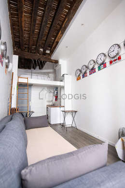 Quiet living room furnished with 1 bed(s) of 160cm, 1 sofabed(s) of 160cm, air conditioning, tv