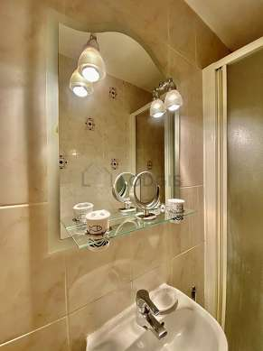 Bathroom equipped with shelves