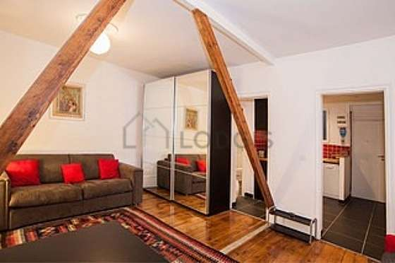 Very quiet living room furnished with tv, closet