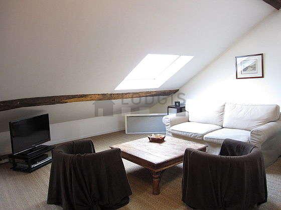 Grand salon de 30m² avec du cocoau sol