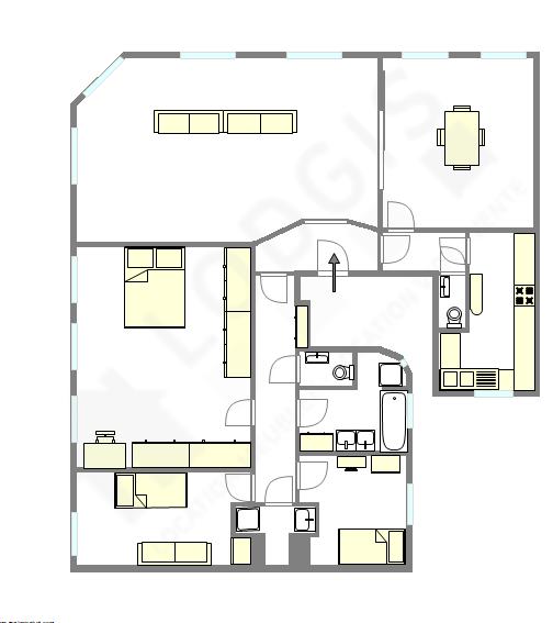 公寓 巴黎4区 - 平面图