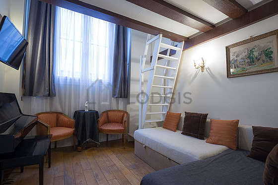 Living room furnished with 1 sofabed(s) of 140cm, air conditioning, sofa, 1 armchair(s)