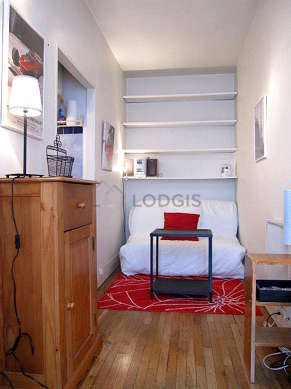 Very quiet living room furnished with 1 sofabed(s) of 120cm, tv, hi-fi stereo, wardrobe