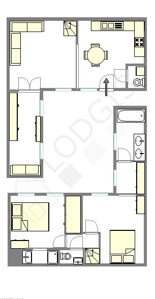 双层公寓 巴黎3区 - 平面图