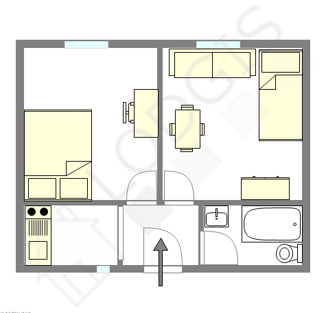 Apartment Paris 20° - Interactive plan