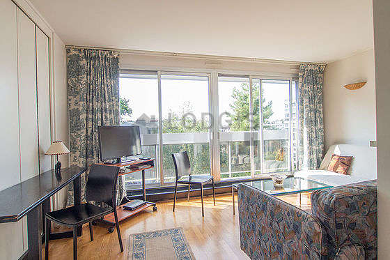 Very quiet living room furnished with 1 bed(s) of 90cm, 1 sofabed(s) of 140cm, tv, wardrobe
