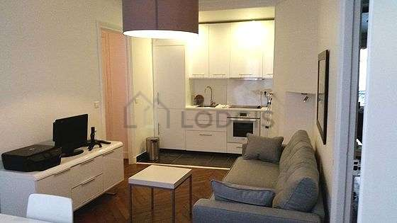 Quiet living room furnished with 1 sofabed(s) of 120cm, tv, dvd player, storage space
