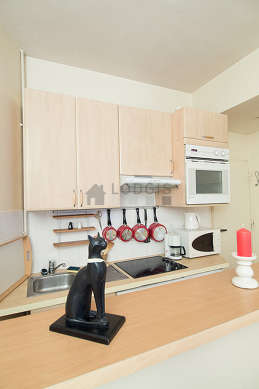 Kitchen equipped with extractor hood, crockery, stool