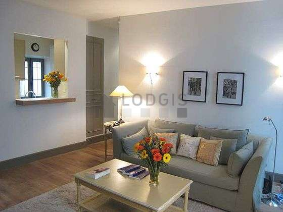 Living room furnished with 1 sofabed(s) of 140cm, tv, hi-fi stereo, 1 armchair(s)
