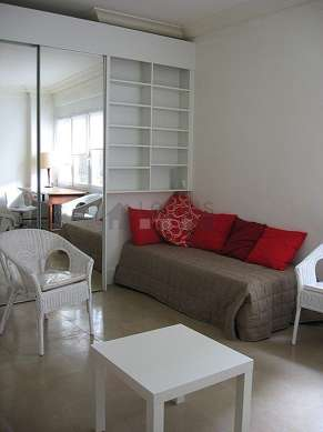 Very quiet living room furnished with 2 bed(s) of 90cm, tv, 2 armchair(s)