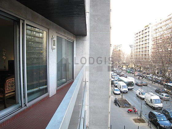 Balcony facing due east and view on road